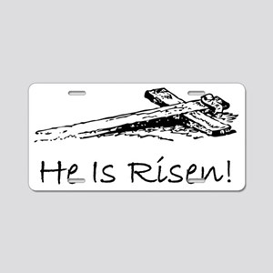 easter he has risen cross Aluminum License Plate