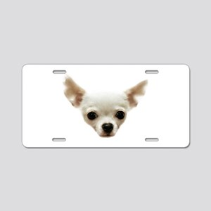 White Chihuahua Aluminum License Plate