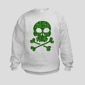 Skull Made of Shamrocks Kids Sweatshirt