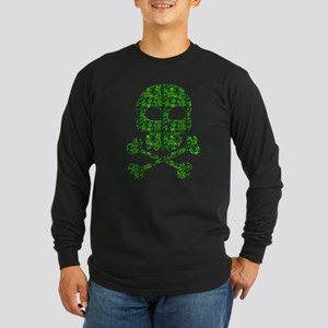 Skull Made of Shamrocks Long Sleeve Dark T-Shirt