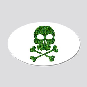 Skull Made of Shamrocks 20x12 Oval Wall Decal