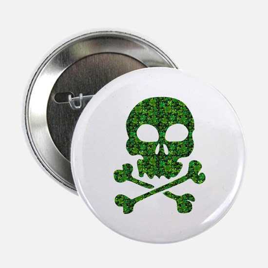 "Skull Made of Shamrocks 2.25"" Button"