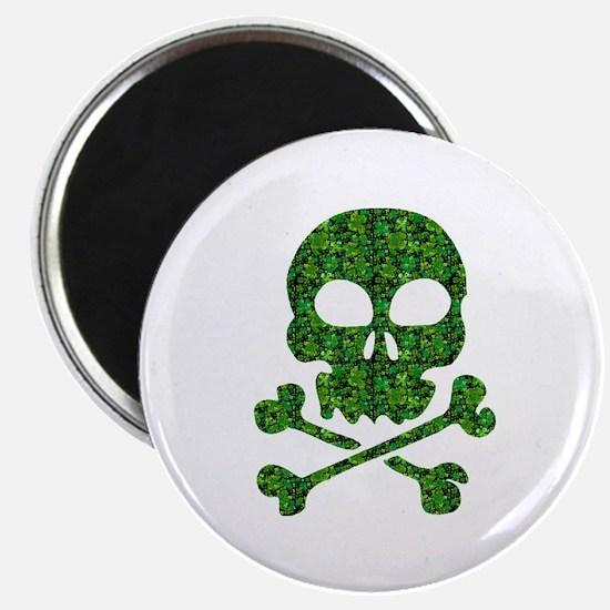 """Skull Made of Shamrocks 2.25"""" Magnet (10 pack)"""