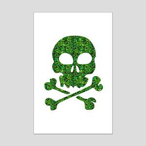 Skull Made of Shamrocks Mini Poster Print
