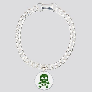 Skull Made of Shamrocks Charm Bracelet, One Charm