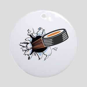Hockey Puck Rip Through Ornament (Round)