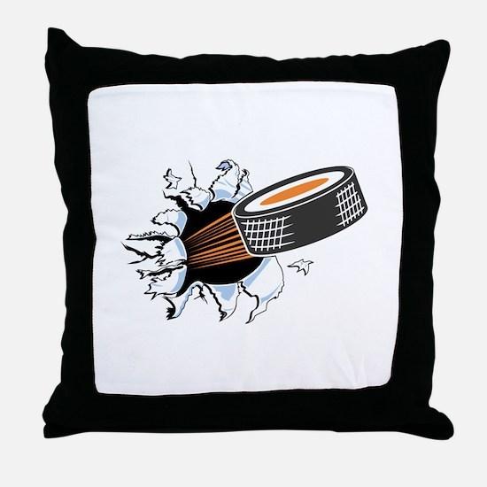 Hockey Puck Rip Through Throw Pillow