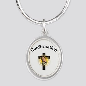 Confirmation Silver Oval Necklace