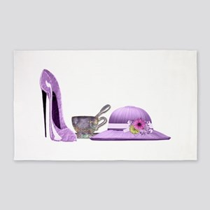 Lilac Stiletto, Hat and Teacup Art 3'x5' Area Rug