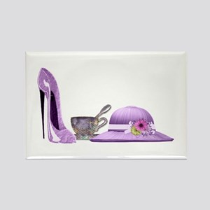 Lilac Stiletto, Hat and Teacup Art Rectangle Magne