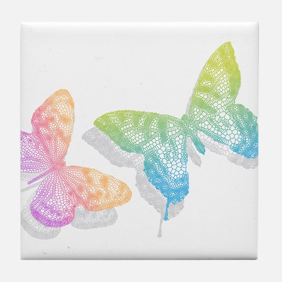 colorful abstract butterflies with shadow Tile Coa