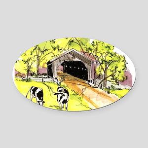 Covered Bridge Oval Car Magnet