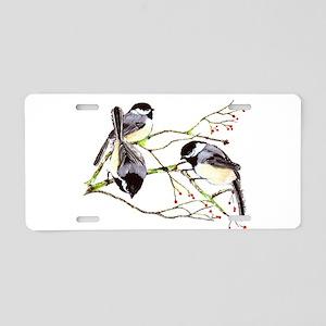 Chickadee gathering Aluminum License Plate