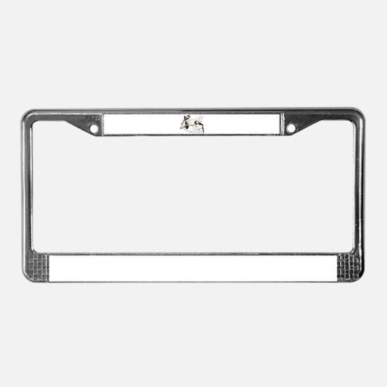 Chickadee gathering License Plate Frame