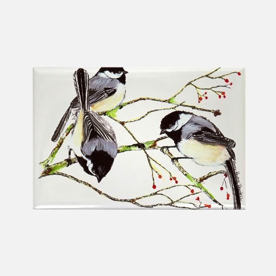 Chickadee gathering Rectangle Magnet