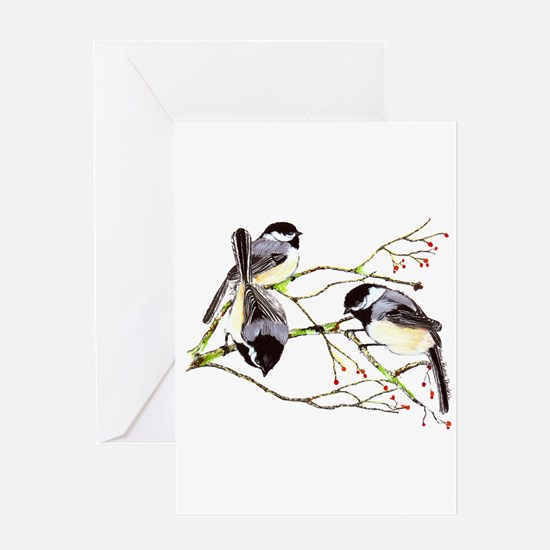 Chickadee gathering Greeting Card