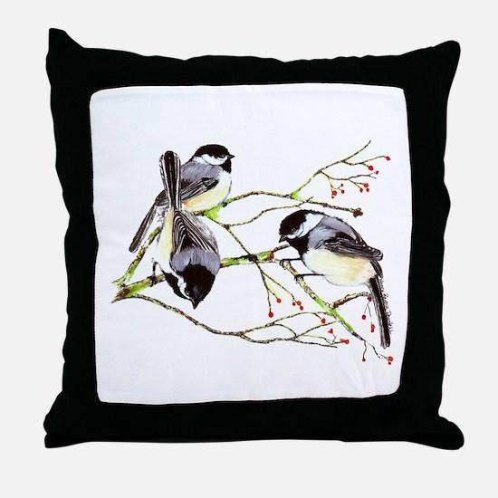 Chickadee gathering Throw Pillow