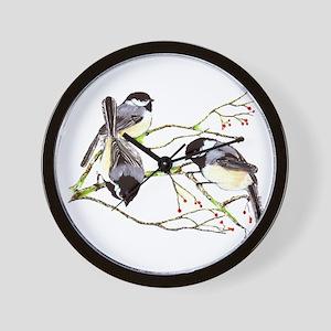 Chickadee gathering Wall Clock