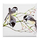 Chickadee Tile Coasters