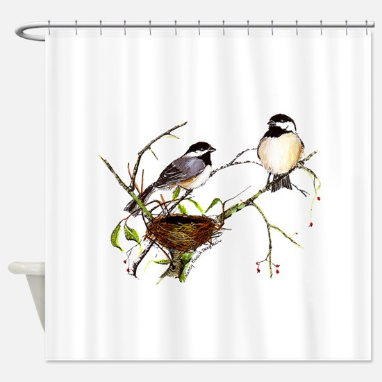 Chickadee inspection Shower Curtain