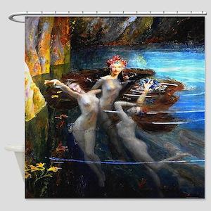 Vintage Bussiere Mermaids Shower Curtain