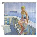 Vintage Woman Seashore Du Gardier Shower Curtain