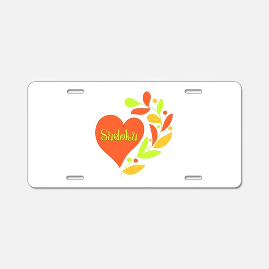 Sudoku Heart Aluminum License Plate