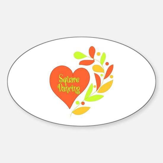 Square Dancing Heart Sticker (Oval)