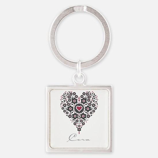Love Cora Square Keychain