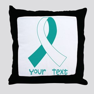 Personalized Cervical Cancer Ribbon Throw Pillow
