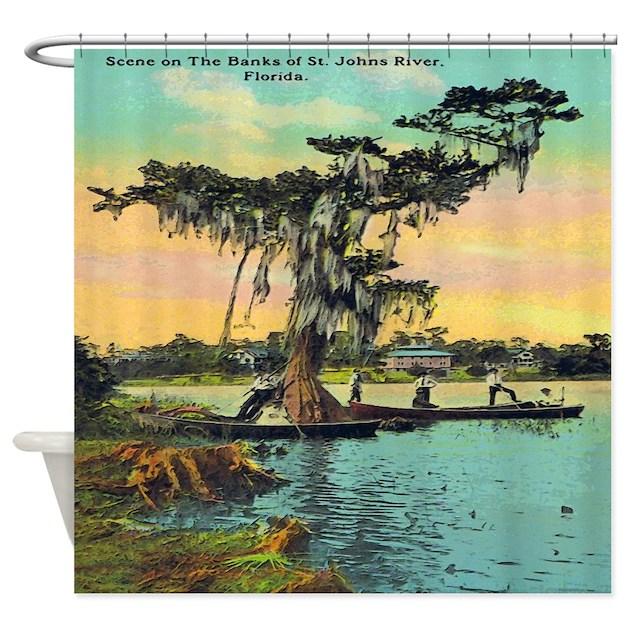 Vintage Florida Postcard Shower Curtain By Rebeccakorpita