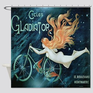 Vintage Paris Bicycle Shower Curtain