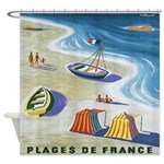 Vintage French Beach Travel Poster Shower Curtain