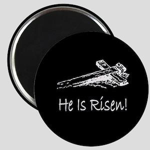 easter he has risen cross darkbutton Magnet