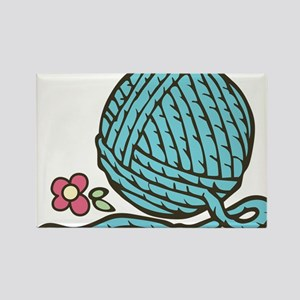Blue Yarn Rectangle Magnet