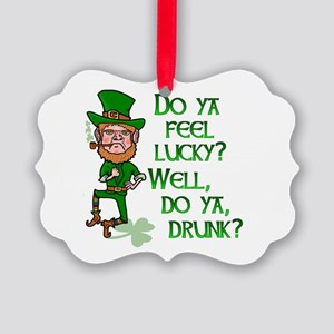 Funny Tough Lucky Drunk Leprechaun Ornament