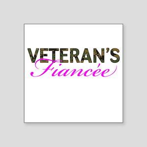 "Marine Vet's Fiancee Woodland Square Sticker 3"" x"