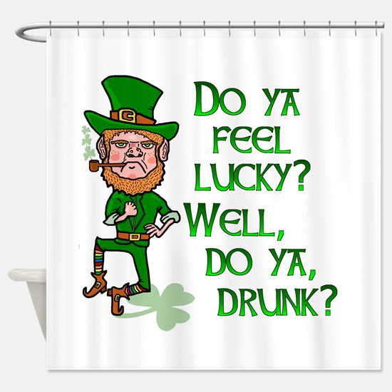 Funny Tough Lucky Drunk Leprechaun Shower Curtain