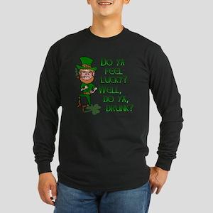 Funny Tough Lucky Drunk Leprechaun Long Sleeve T-S