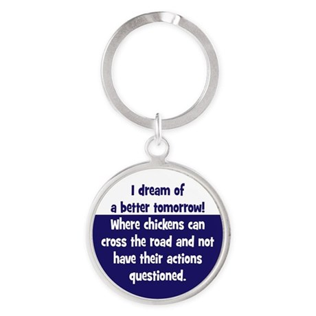 Chickens Cross the Road Round Keychain