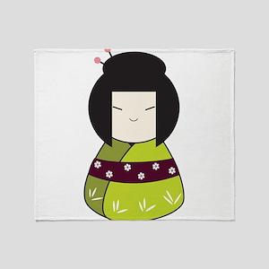 Japanese Doll Throw Blanket