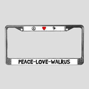 Peace-Love-Walrus License Plate Frame