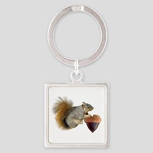 Squirrel Acorn Heart Square Keychain
