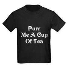 Purr Me A Cup of Tea Kids Dark T-Shirt