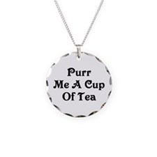 Purr Me A Cup of Tea Necklace Circle Charm
