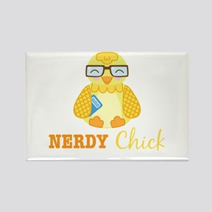 Nerdy Chick Rectangle Magnet