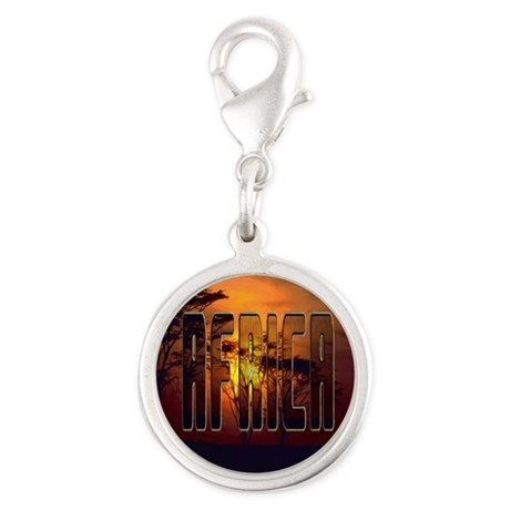 African Sunset Silver Round Charm