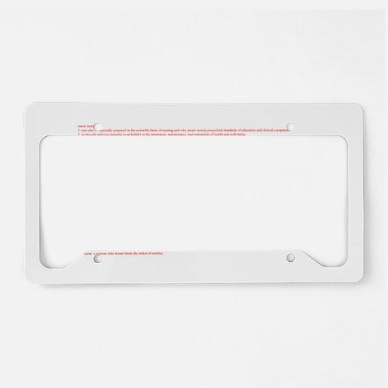 I Heart Nursing Definition License Plate Holder