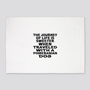 Traveled With Pomeranian Dog Design 5'x7'Area Rug