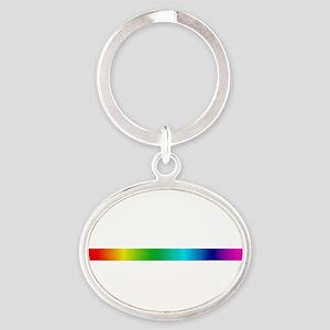 rainbow_stripe Oval Keychain